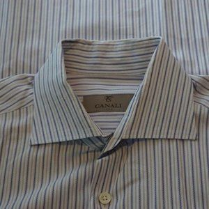 Canali 1934 Current White Blue Striped Shirt